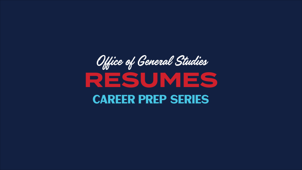 graphic for resume career prep video